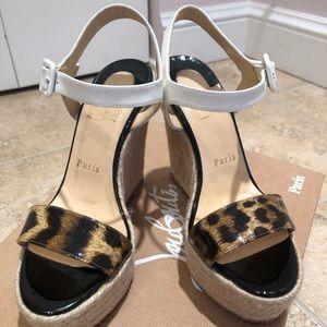 Christian Louboutin Leopard/White Wedges Size 36